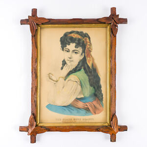 c-1870-Currier-amp-Ives-Black-Eyed-Beauty-Lithograph-Hand-Colored-Adirondack-Frame