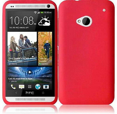 For HTC ONE / M7 Rubber Soft Silicone Gel SKIN Case Phone Cover Red