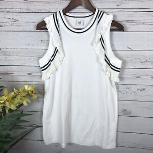 Top Crochet Black White Size Small 5199 amp; Ruffle Cabi Tank Tee Topspin wZ4xz