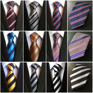 Men-s-Silk-Classic-Stripe-Tie-JACQUARD-WOVEN-Necktie-Wedding-Party-Ties-HZ198