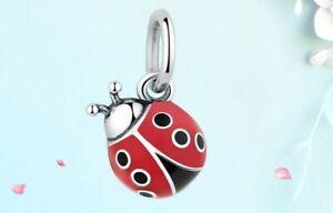 CHARM-Silver-Cute-Red-Ladybug-Charm-fit-Bracelet-Bangle