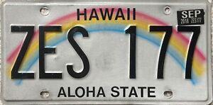 Hawaii-Aloha-State-Rainbow-American-License-USA-Licence-Number-Plate-Tag-ZES-177