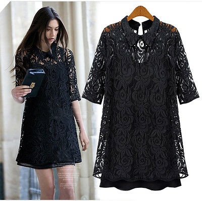 Sexy Black Lace Two Piece Evening Cocktail Party Summer Dress Plus Size 8-26
