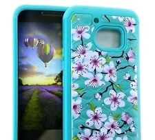 For HTC 10 - HARD & SOFT RUBBER HYBRID DIAMOND BLING CASE MINT BLUE PINK FLOWERS