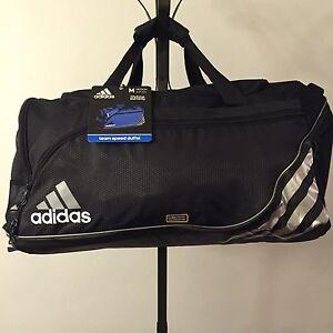 0f001bf0d4a4 NWT Medium Adidas Team Speed Duffel Bag Climaproof Black Silver Free ...