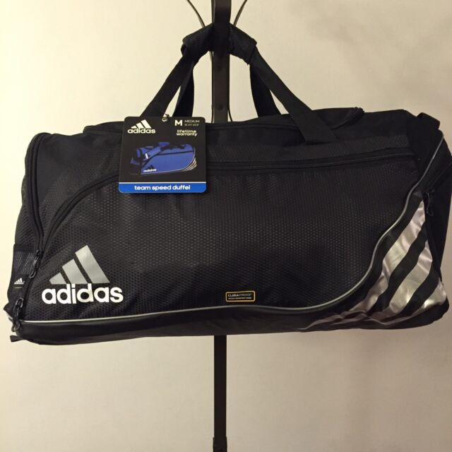 d900cf29de NWT Medium Adidas Team Speed Duffel Bag Climaproof Black Silver Free  Shipping!