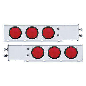 """Spring Loaded Rear Bar w Six 4"""" Round Red Incandescent Light-2 1/2"""" Bolt Pattern"""