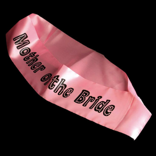 """Miss Behave /""""Mother of the Bride/"""" Pink Sash with Black Writing"""