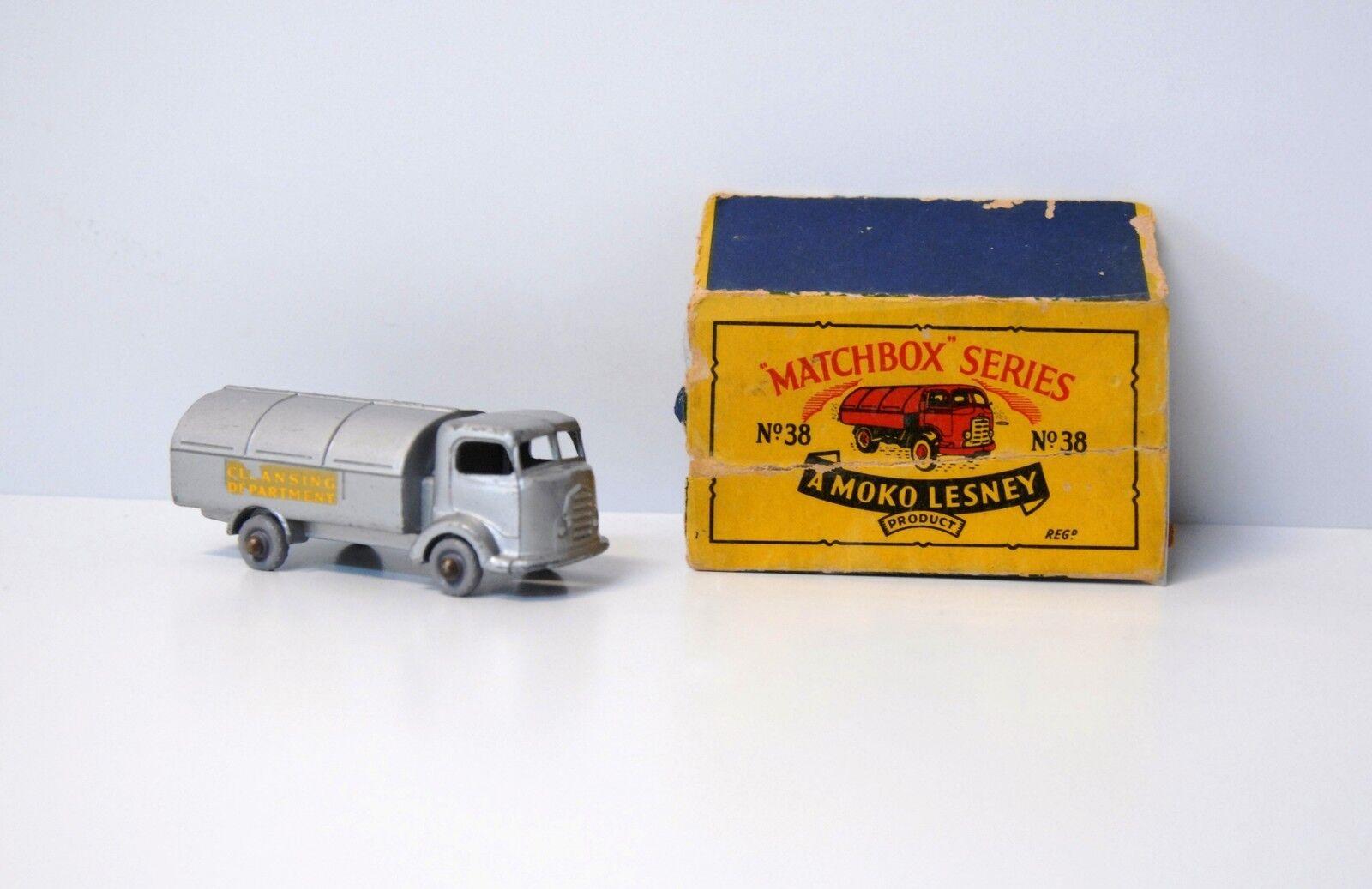 Vintage Matchbox Lesney 38 Plata Caja original un Moko se niegan karrirer damadged