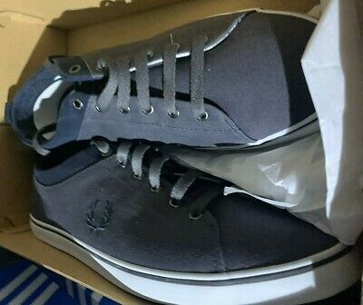 46 BNWT UK.11 FRED PERRY MENS MID CUT CANVAS BOOT SIZE BLACK EURO COLOUR