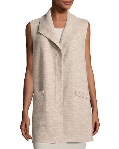 NWT Eileen Fisher 3x Beige  Boiled Wool Vest w  Pin Closure