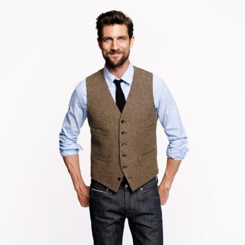 Men's Brown Solid Herringbone Tweed Formal Business Waistcoats Casual Vest 36-48
