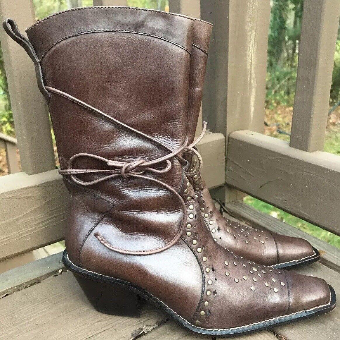 Wm VELEZ Western Midcalf Brown Leather Snip Toe Boot Sz 36 6-6.5M Studded