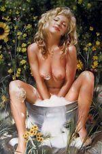 "HIGH QUALITY OIL PAINTING : ""BLONDE NUDE GIRL IN SUNBATH "" 24""X36"" 3YLK"