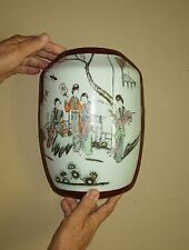 Antique Chinese Famille Rose Porcelain and lacquer Wedding basket/box lid