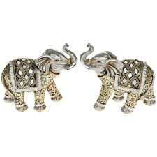 Pair Of Diamond Mirror Effect Gold  Elephants Figurine Ornament