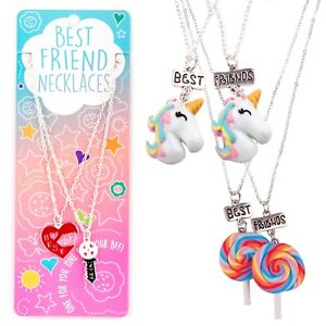 e84176ede48e Detalles de Best Friends Bff Amistad Corazón Unicornio Colgantes Charm  Necklace Set Navidad