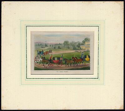 Antique Print Four In Hand Stagecoach Team Horse Alken 1830 Ebay