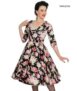 Hell-Bunny-40s-50s-Black-Pin-Up-Swing-Dress-DAHLIA-Pink-Flowers