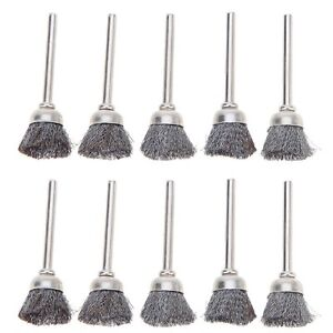 10x 3mm Rotary Steel Wire Wheel Brush Cup Tool Shank for Drills Rust Weld UK