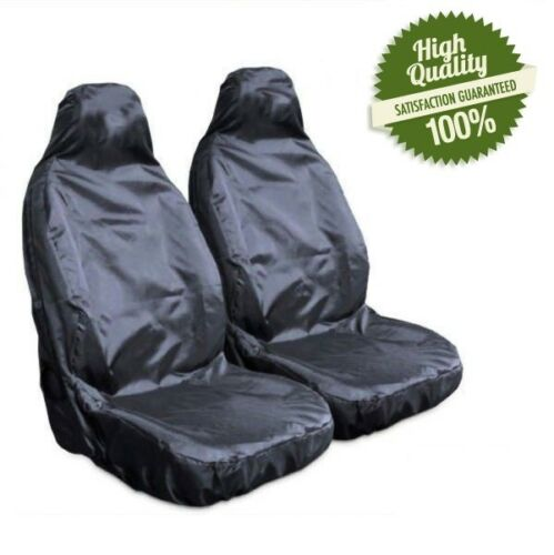 HEAVY DUTY BLACK WATERPROOF RUBBER LINED CAR SEAT COVERS BUCKET SEATS PAIR