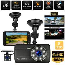 "4"" 1080P Dual Lens Car Dashboard DVR Video Recorder Dash Cam + Rearview camera"