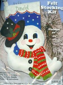 SNOWMAN-with-TOP-HAT-FELT-STOCKING-KIT-NEW