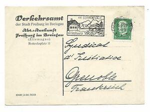 carte postale allemande avec flamme philatélique de 1929 - France - Carte postale allemande avec flamme philatélique sur le transport du courrier par voiture postale dans la fort noire en 1929. - France