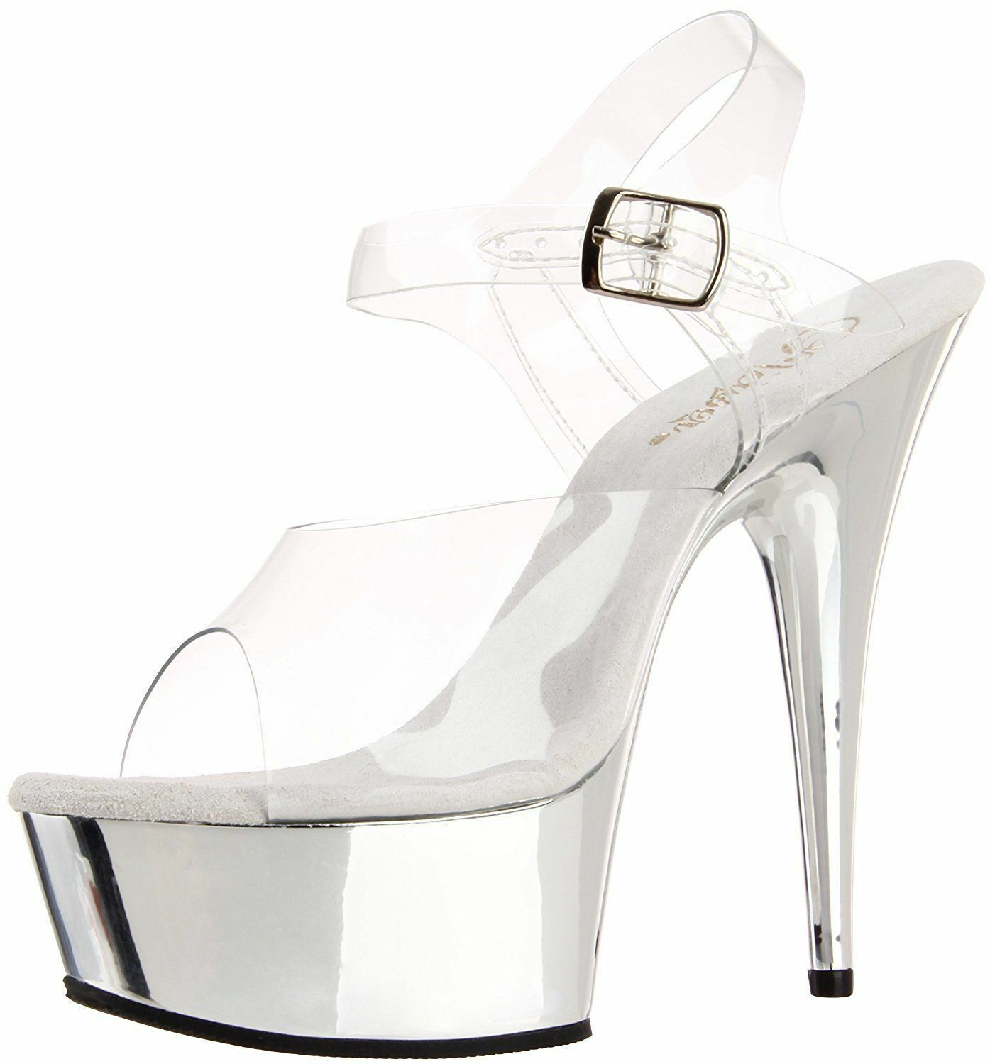 Pleaser Delight Damenschuhe UK 6 Clear Silver Silver Silver Chrome Platform Stiletto Heel Schuhes NEW 2872ee