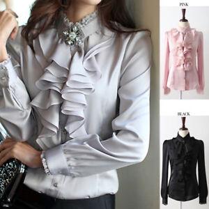 Lady-Silk-like-Long-Sleeve-Formal-Shirt-Frill-Drape-Ruffle-Collar-Blouse-Top-New