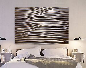 xxl leinwand bild 155x100x5 metall wellen 3d industrie design wandbild ikea neu ebay. Black Bedroom Furniture Sets. Home Design Ideas