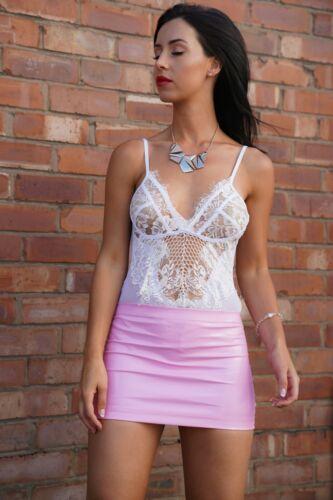 Pink Micro Mini Skirt High Waist Pvc Rubber Coated Wet Look Strech Women/'s Girls