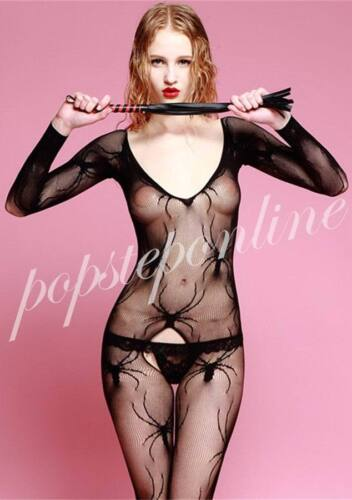 Hot Fishnet Spider Bodystocking Long Sleeve See Through Open Crotch Lingerie