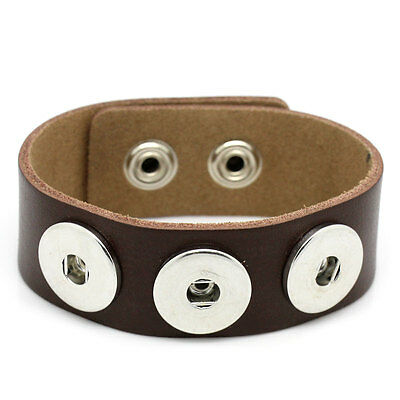 Wholesale Lots Coffee Real Leather Bracelet  Fits Metal Snap Buttons