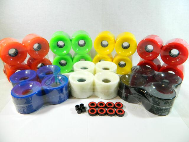Spacers ABEC 7 Bearing Blank GLOW IN THE DARK 76mm Longboard Color Wheels