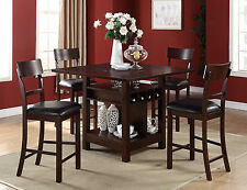 5 PC Dark Rosy Brown Counter Height Dining Table Set W/ Lazy Susan Storage  Base