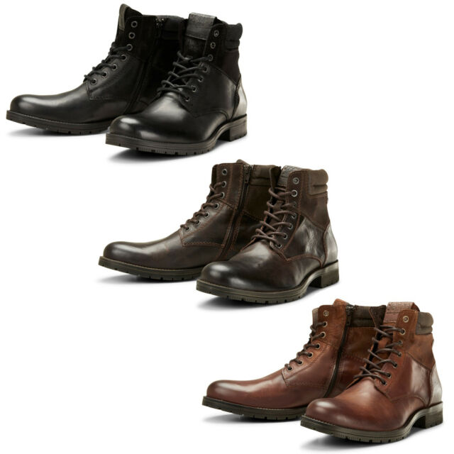 5624445fbdc Jack & Jones Ankle Boots JFWZachary Mens Leather Lace Up Side Zip Durable  Shoes