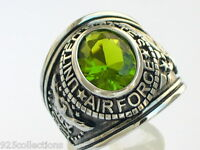 Stainless Steel United States Air Force Military August Peridot Men Ring Size 11