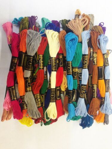 50 Butterfly Solid Stitch Skeins Cotton Embroidery Thread Floss ASSORTED COLOUR