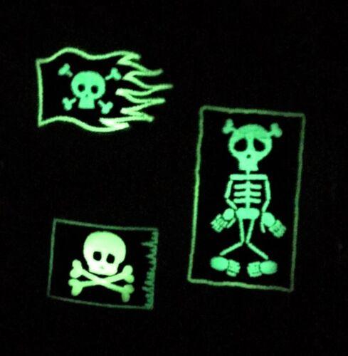 tete de mort squelette nachleuchtend Aufbügel raccommoder Bügelbild écusson patch 3 Stü