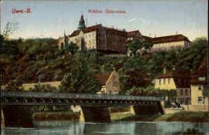 Bruecken-Motiv-AK-1910-GERA-REUSS-Bruecke-mit-Blick-auf-Schloss-Osterstein-color