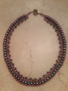 Vintage-Purple-Stone-Crystal-Sterling-Silver-Necklace-Pearl-Woven