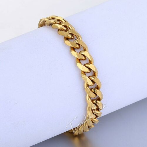 3//5//7//9//11mm Mens Gold Plated Curb Cuban Link Stainless Steel Bracelet Chain