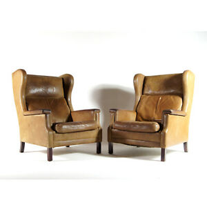 1-of-2-Retro-Vintage-Danish-Teak-amp-Leather-Lounge-Easy-Chair-Armchair-1960-039-s-70s