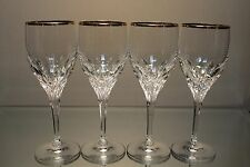 Gorham DIAMOND Set of 4 Crystal Wine Goblets Glasses w/Pulled Base & Gold Rim
