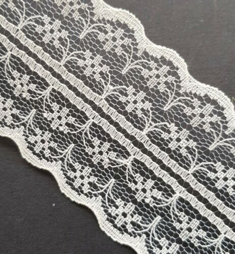 Lace Ribbon Trim Ivory  1m x 45mm Wide Card Craft Sewing Vintage Wedding Style
