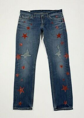 Dondup Stars Jeans Usato Donna Custom Denim Painted W31 Tg 45 Slim Stretch T5619 Ultimo Stile