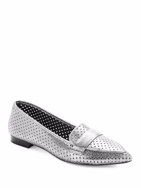 Donald J Pliner Ava Pointed Toe Metallic Loafers, Silver, 7.5M NEU/Display