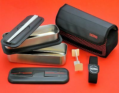 Large big 2 level stainless steel THERMOS Bento lunch box + bag 1100ml DSD-1100W