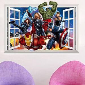 Super Hero Avengers Wall Crack Decal Sticker Kids Bedroom Decor Art Hulk Ironman Ebay